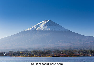 Mt fuji with lake and city view