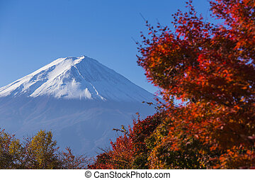 Mt Fuji with red autumn Kawaguchi-ko Japan