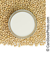 Soymilk and soy beans - Soymilk and soy beans over white...