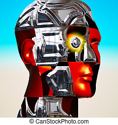 Cyborg's head with metal plates