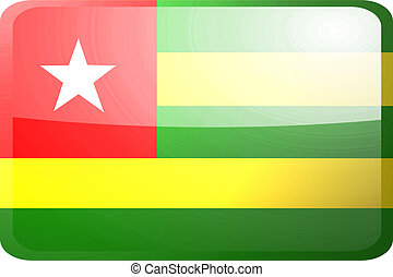 Flag of Togo button - Flag of Togo, national country symbol...