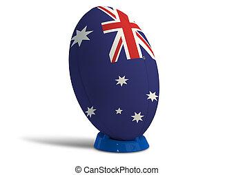 Australiano, rúgbi, bola, ligado, Um, chutando, tee
