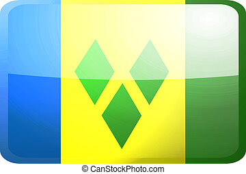 Flag of Saint Vincent and Grenadines button - Flag of Saint...