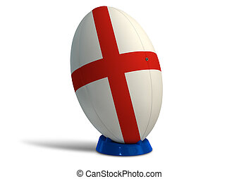England Rugby Ball On A Kicking Tee - A textured rugby ball...