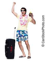 Full length of young man with travel bag