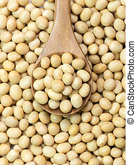 Soya beans - Close-up of soya beans on wooden spoon