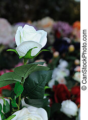 Beautiful artificially single white rose.