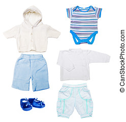 baby clothes - set of baby boy clothes in blue and white...