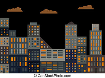 Evening city Vector illustration