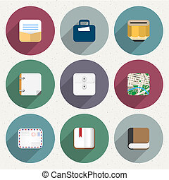 Flat Icons for web and mobile applications objects, business, office items. Vector collection