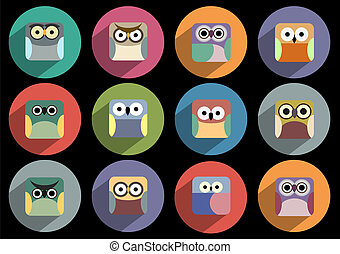 Flat icons of owls with long shadow effect