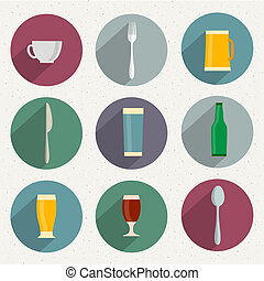Flat Icons of web and mobile applications utensil objects...