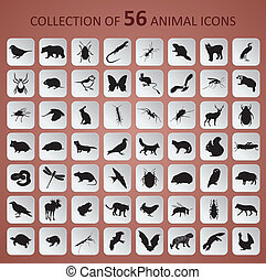 Animal icons - Vector image of paper animal black and whitte...