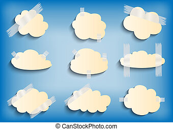 Paper cloud with scotch tape collection - Illustration of...