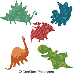 Baby dinosaurs - Vector image of cartoon cmiling baby...
