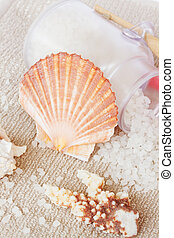 Sea spa setting with  scallops shell