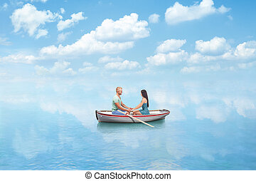 young couple in Love on boat - young couple in Love hold...