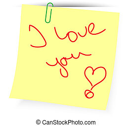 loving message - yellow paper with handwritten text I love...
