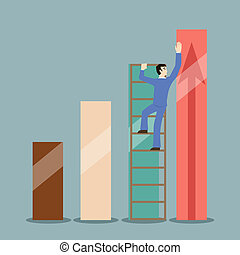 flat design style businessman stretches to infographics heights rating concept illustration vector