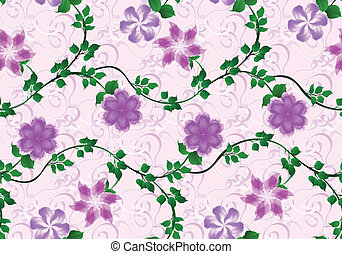 pattern with bright lilac flowers on pink background -...