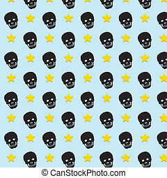 Skull rock star pattern background.