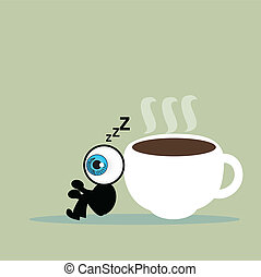 The blue eye sleep with coffee cup