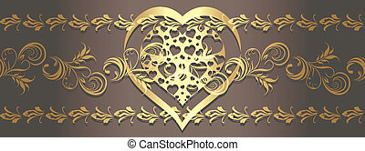 Ornamental golden border with heart