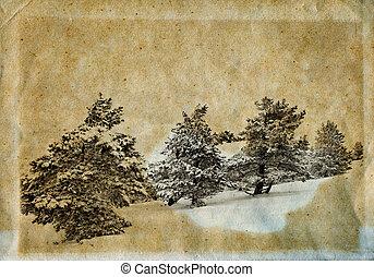 Winter retro photo - Vintage retro style winter landscape...