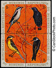 BURUNDI - CIRCA 1970: A set of four stamps printed in...