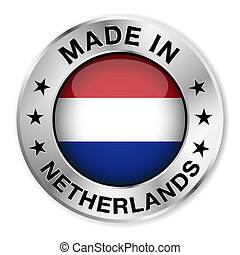 Made In Netherlands Silver Badge - Made in Netherlands...