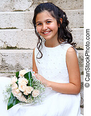 First Communion beautiful girl - Smiling young girl in white...