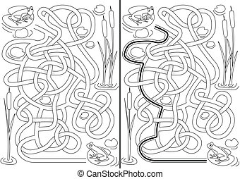Frogs Maze - Frogs maze for kids with a solution in black...