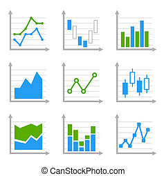 Business Infographic Colorful Charts and Diagrams. Blue ang...
