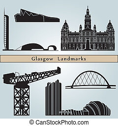 Glasgow Landmarks and monuments isolated on blue background...