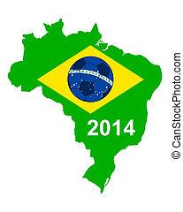 Soccer map and flag of Brazil