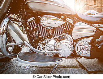 motorcycle engine - Shiny chromium-plated motorcycle engine