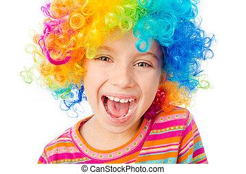 little girl in clown wig - smiling little girl in clown wig...