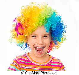 little girl in clown wig - smiling little girl in clown wig...