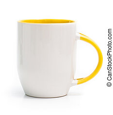white cup with a yellow handle