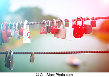 Lock in hart shape - Wedding Locks on rope bridge