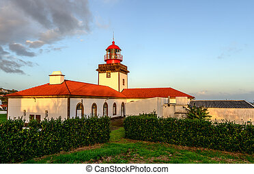 Lighthouse on Flores island, Azores archipelago (Portugal) -...