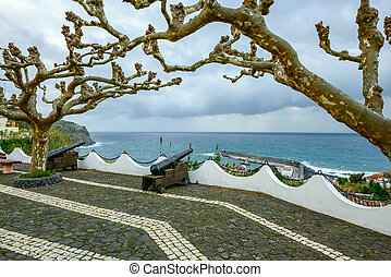 Cannons in Lajes das Flores, Azores archipelago Portugal -...