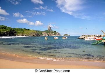 Bay of Santo Antonio on Fernando de Noronha island with...