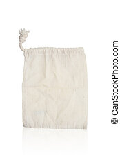 Brown fabric bag on white isolated background.