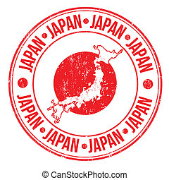 Japan stamp - Grunge rubber stamp with japan flag, map and...
