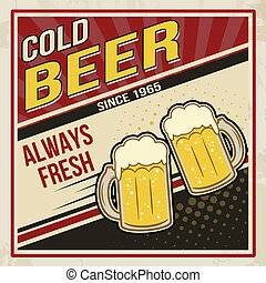 Retro beer vector poster. Vintage poster template for cold...