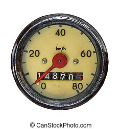 Isolated Vintage Speedometer - Isolation Of A Vintage...