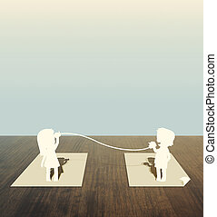 Paper cut of child talk on wood table