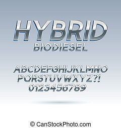 Silver Hybrid Font and Numbers, Eps 10 Vector, Editable for...