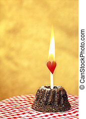 cake with flaming heart - Mini chocolate cake with burning...